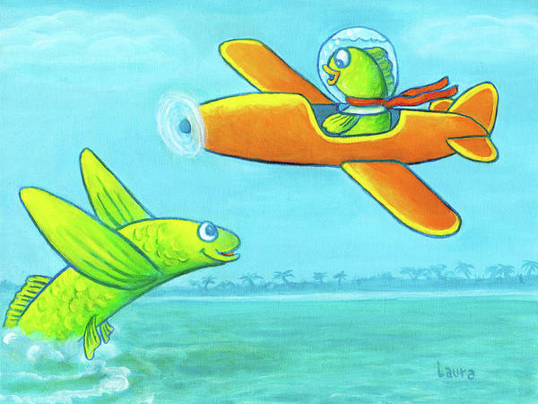 Wall Art - Painting - Flying Fish by Laura Zoellner