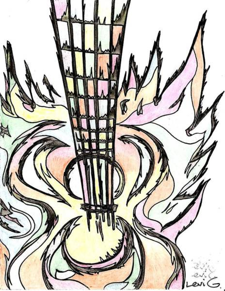 Electronica Drawing - Flying Guitar  by Levi Glassrock