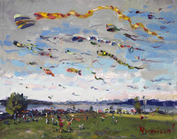 Wall Art - Painting - Flying Kites Over Gratwick Park by Ylli Haruni