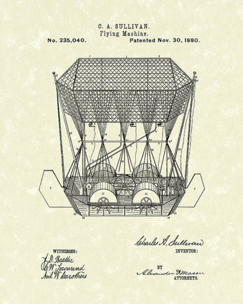 1880 Drawing - Flying Machine 1880 Patent Art by Prior Art Design