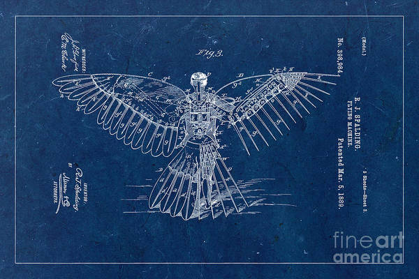 Wall Art - Photograph - Flying Machine 1889 - Blue by Delphimages Photo Creations