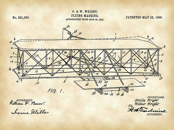 Wall Art - Digital Art - Flying Machine Patent 1903 - Vintage by Stephen Younts