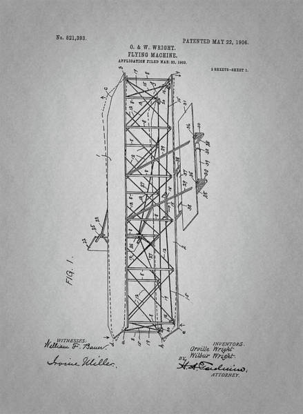 Vintage Airplane Drawing - Flying Machine Patent Drawing From 1906 by Art Spectrum