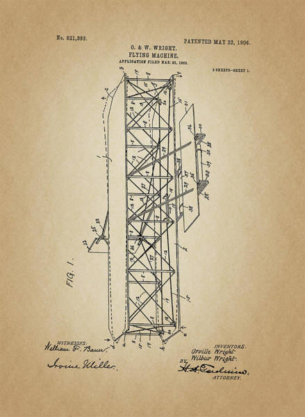 Vintage Airplane Drawing - Flying Machine Patent From 1906 by Art Spectrum