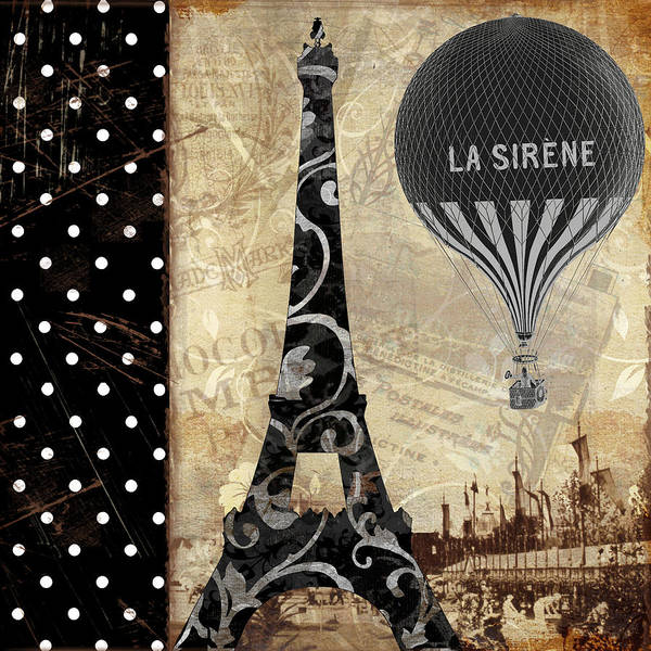 Retro Paris Painting - Flying Over Paris by Mindy Sommers