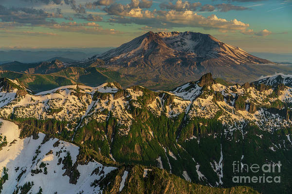 Wall Art - Photograph - Flying Over Snow Dusted Peaks To Mount St Helens by Mike Reid