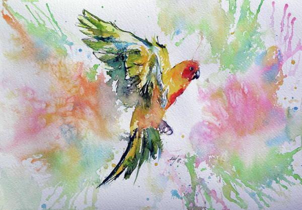 Wall Art - Painting - Flying Parrot by Kovacs Anna Brigitta