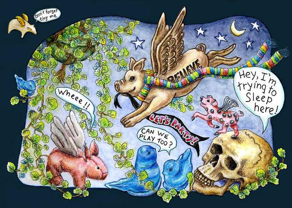 Flying Pig Party Art Print