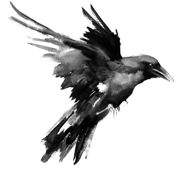 Ravens Painting - Flying Raven by Suren Nersisyan