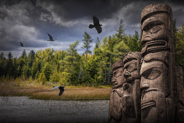 Photograph - Flying Ravens And Totem Poles In The Wilderness by Randall Nyhof
