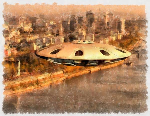 Abduction Painting - Flying Saucer by Esoterica Art Agency