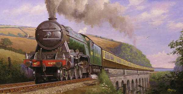 Loco Wall Art - Painting - Flying Scotsman At Torbay. by Mike Jeffries