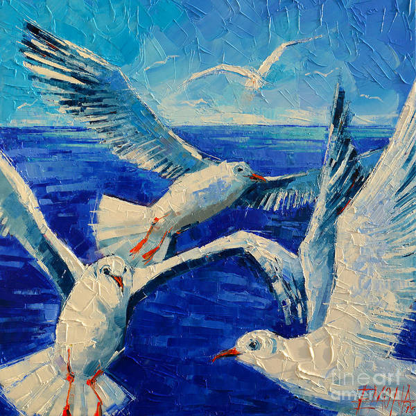 Wall Art - Painting - Flying Seagulls by Mona Edulesco