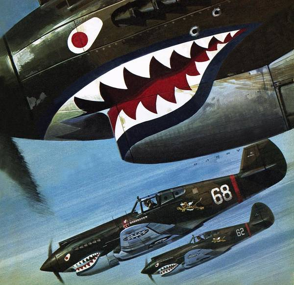 Air War Painting - Flying Tigers Over Asia by Wilf Hardy