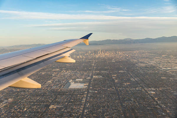 Photograph - Flying To L A - Southern California Sprawling Metropolis From A Plane by Georgia Mizuleva