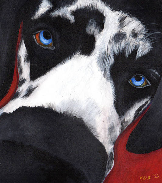 Black Great Dane Painting - Flynn by Tera Leigh