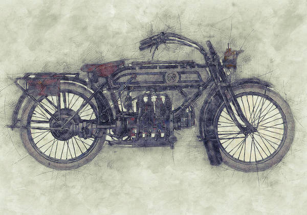Four Wheeler Mixed Media - Fn Four 1 - Fabrique Nationale - 1905 - Motorcycle Poster - Automotive Art by Studio Grafiikka