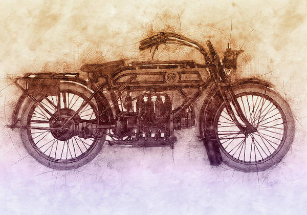 Four Wheeler Mixed Media - Fn Four 2 - Fabrique Nationale - 1905 - Motorcycle Poster - Automotive Art by Studio Grafiikka