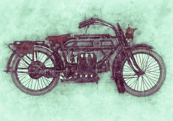 Four Wheeler Mixed Media - Fn Four 3 - Fabrique Nationale - 1905 - Motorcycle Poster - Automotive Art by Studio Grafiikka