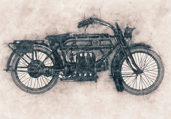 Four Wheeler Mixed Media - Fn Four - Fabrique Nationale - 1905 - Motorcycle Poster - Automotive Art by Studio Grafiikka