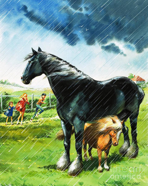 Wall Art - Painting - Foal Sheltering From Bad Weather Under Another Horse by 289344