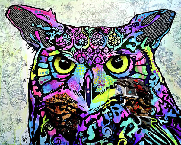 Owl Painting - Focused Owl by Dean Russo Art