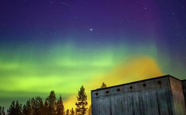 Photograph - Fog And Northern Lights At Sapmi Museum Karasjok Norway by Adam Rainoff