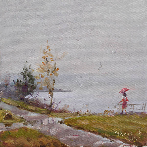 Seagull Painting - Fog And Rain At Gratwick Waterfront Park by Ylli Haruni