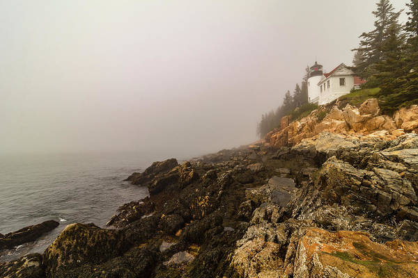 Photograph - Fog At Bass Harbor Lighthouse by Jeff Folger