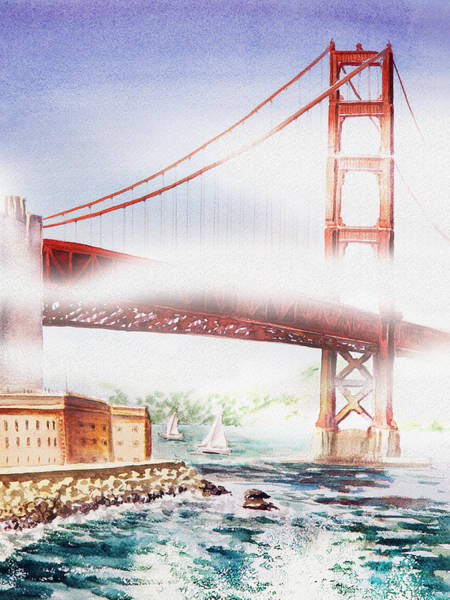Golden Gate Painting - Fog At Golden Gate Of San Francisco  by Irina Sztukowski