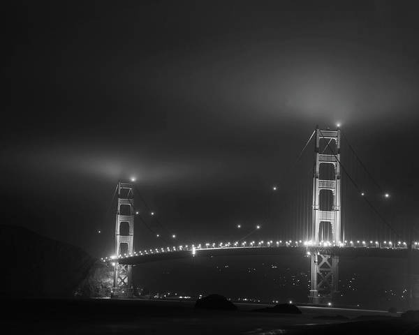 Photograph - Fog Over The Golden Gate Bridge San Francisco Ca Black And White by Toby McGuire