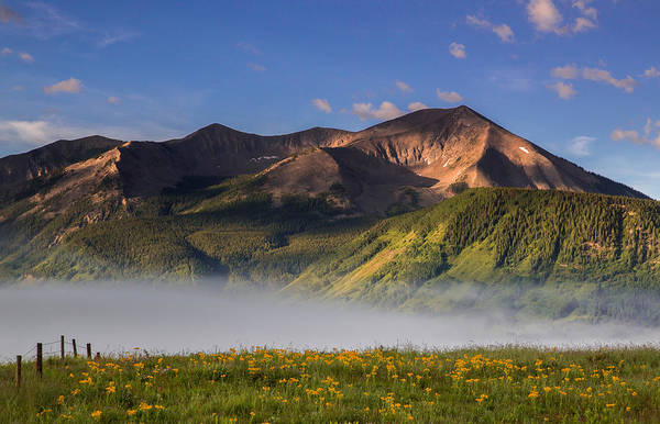 Wall Art - Photograph - Fog Rolls Through A Meadow Above Crested Butte While Whetstone M by Bridget Calip
