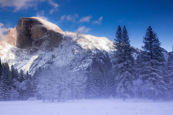 Wall Art - Photograph - Fog Rolls Through The Meadow Below Half Dome by Bridget Calip