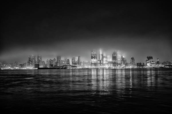 Wall Art - Photograph - Fog Shrouded Midtown Manhattan In Black And White by Bill Cannon