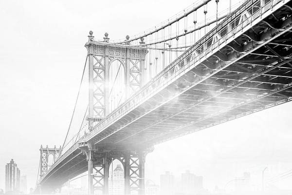 Cityscapes Wall Art - Photograph - Fog Under The Manhattan Bw by Az Jackson