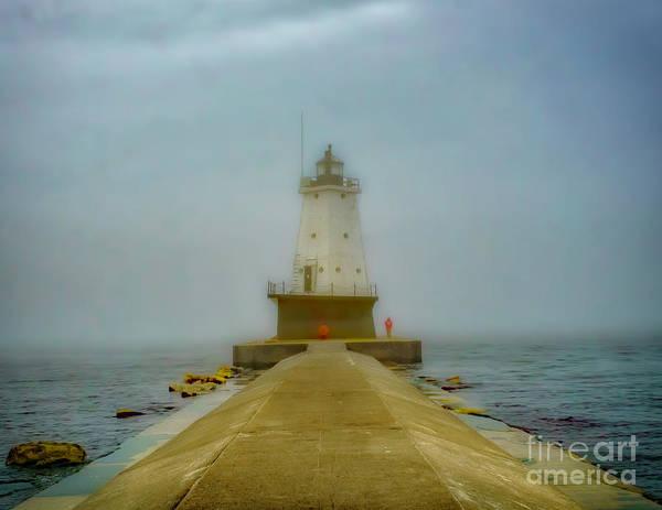 Photograph - Foggy At Ludington North Pier by Nick Zelinsky