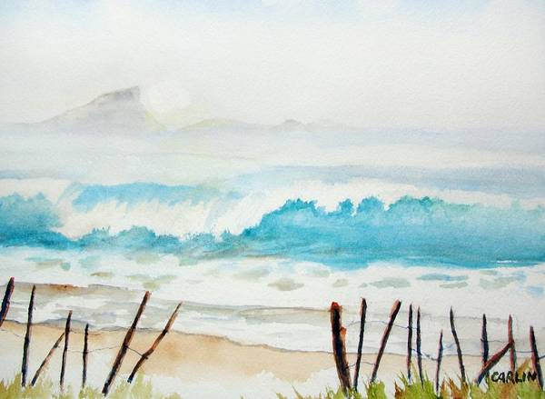 Painting - Foggy Beach by Carlin Blahnik CarlinArtWatercolor