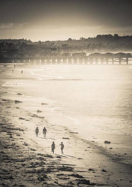 Foggy Beach Walk Art Print