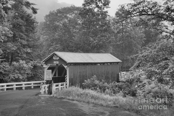 Somerset County Photograph - Foggy Evening At The Packsaddle Covered Bridge Black And White by Adam Jewell