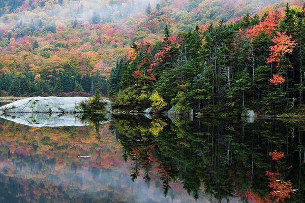 Photograph - Foggy Foliage Morning Kinsman Notch by Jeff Folger
