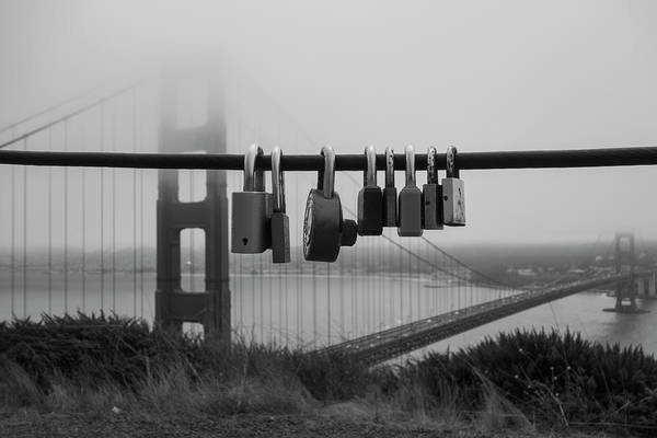 Photograph - Foggy Golden Gate Bridge Love Locks San Francisco Ca Black And White by Toby McGuire