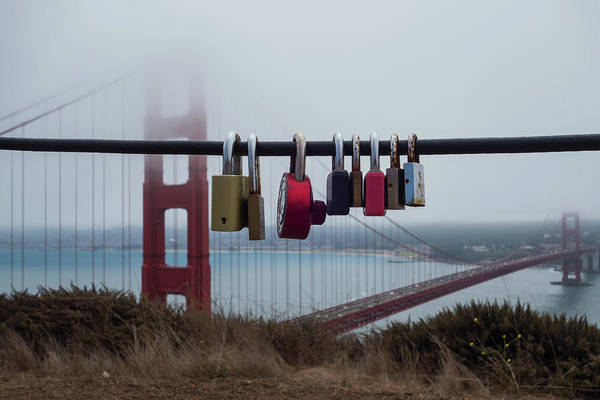 Photograph - Foggy Golden Gate Bridge Love Locks San Francisco Ca by Toby McGuire