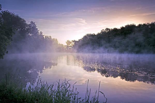 Lavender Mist Wall Art - Photograph - Foggy Lake Sunrise by SharaLee Art
