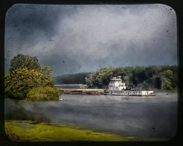 Photograph - Foggy Morning At The Barge Harbor by Al  Mueller