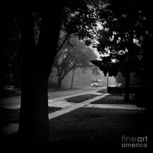 Photograph - Foggy Morning Bus Ride - Black And White by Frank J Casella