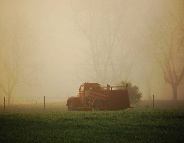 Pick Up Truck Digital Art - Foggy Morning Fire Truck by Michael Thomas