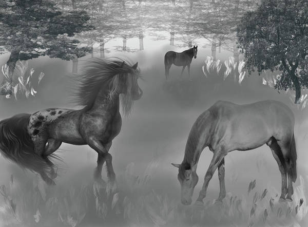 Wall Art - Mixed Media - Foggy Morning Pasture by Lisa Stanley