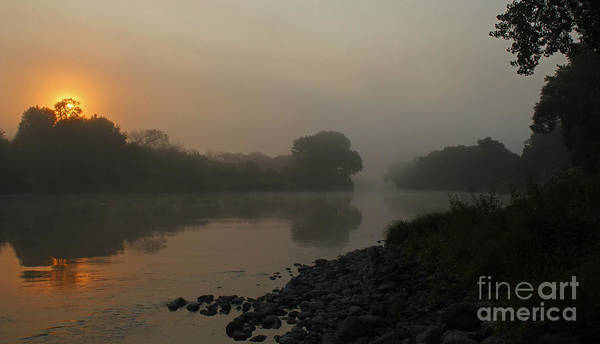 Photograph - Foggy Morning Red River Of The North by Steve Augustin