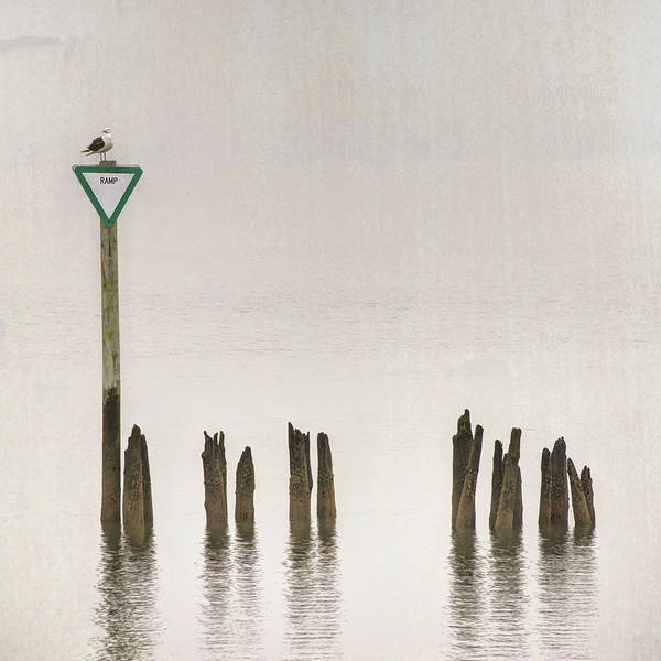 Photograph - Foggy Morning Texture Keyport Harbor by Gary Slawsky