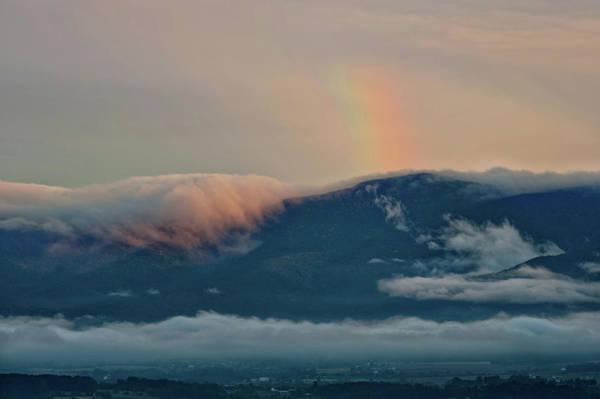 Photograph - Foggy Mountain Rainbow by Lara Ellis